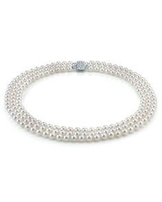 Triple Strand White Akoya Pearl Necklace