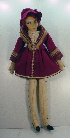 1930's Unusual Cloth Boudior Doll, French! I own a  similar doll with same type of shoes