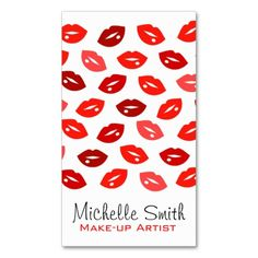 Red lips Make-up artist business card Business Cards