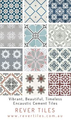 Rever Tiles brings you beautiful decorative cement tiles created by skilled artisans, each one made by hand using the traditional methods Decor, Interior Design Living Room, Interior Design Bedroom, Diy Bedroom Decor, Cement Tile, Interior Design Kitchen, Tile Design, Home Decor, Encaustic Tile