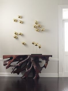 Phillips Collection - Golden Birds Wall Decor and One-of-a-Kind Wood Console