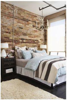 I love exposed brick walls! Exposed Brick Bedroom // Photo Michael Graydon // House & Home Condos 2009 issue Exposed Brick Bedroom, Brick Wall Bedroom, Exposed Ceilings, High Ceilings, Industrial Bedroom Design, Industrial Interiors, Industrial Chic, Industrial Lighting, Loft Style Bedroom