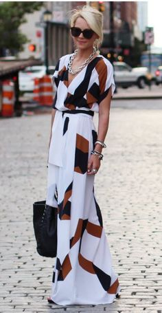 I want this dress!!!! White black and brown wrap dress. Love the chain necklace. Stitch fix fall 2016