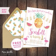 Tropical Flamingo and pineapple Birthday invitation FULLY CUSTOMISABLE, digital Birthday Invitation *Comes with FREE backing design for a