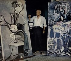 Artist Pablo Picasso - [I never realized how large some of his canvases are! Pablo Picasso, Kunst Picasso, Art Picasso, Picasso Paintings, Picasso Guernica, Henri Matisse, Henri Rousseau, Artist Art, Artist At Work