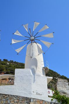 Totally miss the blue sky in Crete. Look at this bright classic windmill we saw on our way up! Greece Photography, Crete, Windmill, Photo S, That Look, Bright, Sky, Classic, Places