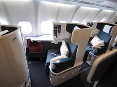 Best to Asia - Cathay Pacific business class - fully recline bed and spacious. - Small Business Page Flying First Class, First Class Seats, Private Plane, Private Jet, Airplane Interior, Airplane Seats, First Class Flights, Aircraft Interiors, Cathay Pacific