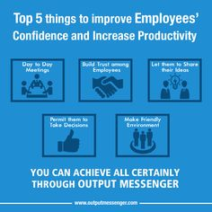 Top 5 things to improve Employee Confidence and increase Employee Productivity! Improve Confidence, Instant Messenger, Productive Day, Increase Productivity, 5 Things, Software, Let It Be, Learning, Top