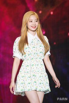 Dahyun-Twice 180801 Korea Music Festival Rapper, Twice Jyp, Twice Dahyun, Stage Outfits, Dance The Night Away, Kpop Fashion, Kpop Girls, High Neck Dress, Short Sleeve Dresses