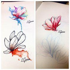 Magnolias • estudo de algumas flores pontilhismo e aquarela #watercolor #aquarela #tattoo #tatuagem #flower #magnolia #dotwork #dots #lcjunior