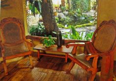 Filipino Style Chairs Filipino Interior Design, Asian Interior, Philippine Architecture, Art And Architecture, Filipino House, Bamboo Cabinets, Philippine Houses, Rest House, Tropical Houses