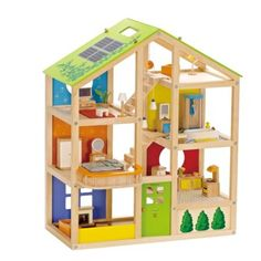 Hape All Season Doll House Furnished Playset