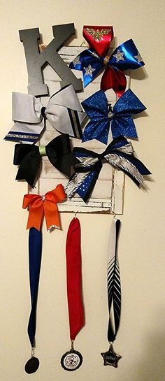 Personalized Cheer Bow/Ribbon Award Display  on adorable distressed window shutter. Visit my Etsy shop to custom order now and it will be ready to ship within 1-2 weeks.