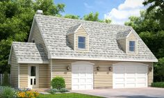This cottage style detached garage plan features a fully functional rental apartment on the second floor. Complete with a bedroom, bathroom, kitchen, dining area, living room and even a deck off the back.