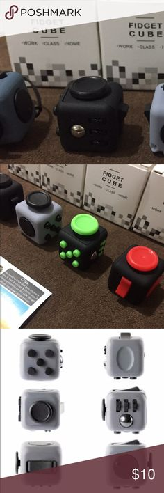 MINI FIDGET CUBE Brand New Stress Relief and ANXIETY Toy  GOOD QUALITY!  SIZE: MINI ( 2.2 x 2.2cm ) COLOR: BLUE, BLACK, BLACK GRAY, BLACK GREEN                AND BLACK RED  MATERIAL: PVC  FOR CHILDREN AND ADULT TOY  Ages: 8 and ABOVE  If you want a specific color, just comment me!   INCLUDED INSIDE THE BOX 1x FIDGET TOY  1x STRAP 1x MANUAL Other