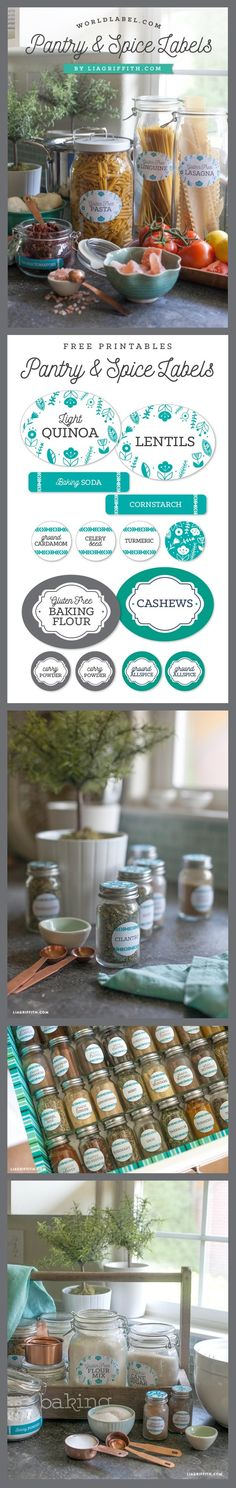 Pantry Kitchen & Spice Jar Labels for your Spring redo! Spice Jar Labels, Spice Jars, Diy Decorating, Spring Cleaning, Place, Glass Jars, Pantry, Spices, Cricut