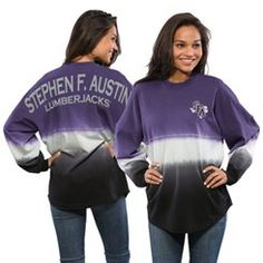 Women's Purple Stephen F Austin Lumberjacks Ombre Long Sleeve Dip-Dyed Spirit Jersey