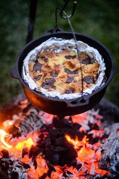 Dutch oven cooking - leftover brioche, marmalade & dark choc bread and butter pudding, mark 2. Photo copyright Jason Ingram