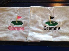 white embroidered golf towels by LindaKaysCreations on Etsy