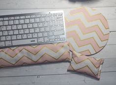 gold pink chevron mouse pad Keyboard rest and or WRIST by Laa766  chic / cute / preppy / computer, desk accessories / cubical, office, home decor / co-worker, student gift / patterned design / match with coasters, wrist rests / computers and peripherals / feminine touches for the office / desk decor
