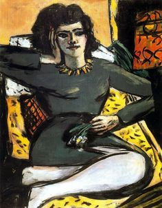 ** Max Beckmann. 1884-1950. Reclining Woman with Pinks. Femme couchée avec des roses. vers 1941. Hannover. Sprengel Museum.