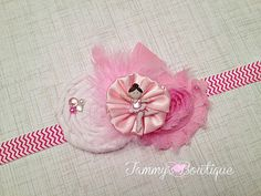 Pink and White Ballerina Headband Pink Headband by TammysBowtique, $6.25
