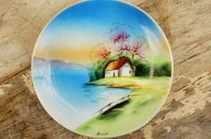Vintage 40s-50s Signed Handpainted Wall Plate by SycamoreVintage