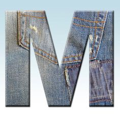 Denim Digital Alphabet, Jeans Alphabet Clipart, Printable Denim Fabric Letters + Numbers + Punctuation, Distressed Denim Letters