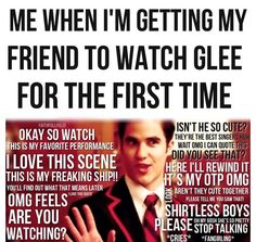 my friend was like glee is adult kids bop and I️ was about to go all Lima heights Glee Memes, Glee Quotes, Funny Memes, Chris Colfer, Darren Criss, Watch Glee, Friends Are Like, Losing Friends, Glee Club