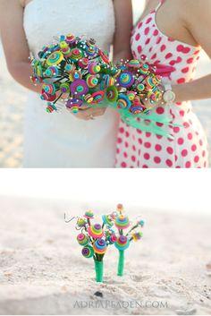 Colorful rainbow button bouquet