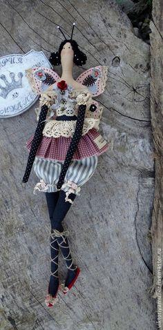 кукла тильда ручной работы БАБОЧКА) - розовый,чёрный,серый,кукла ручной работы