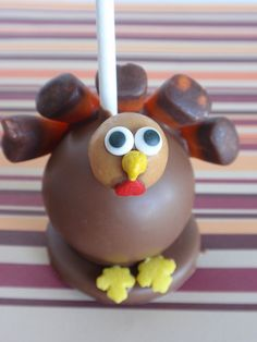 Tom Turkey Cake Pops 2010 design by Cake Pop lady, via Flickr there are LOTS of other pics of the Cake Pop Lady on this site that can't be pinned.  Well worth looking at