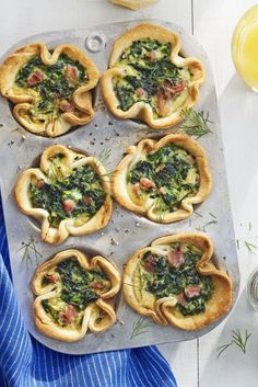 Grab and Go Spinach and Ham Egg Bakes:  These dainty spinach and egg cups pair perfectly with mimosas.