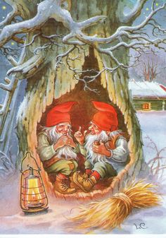 gnomes in winter Swedish Christmas, Christmas Gnome, Scandinavian Christmas, Vintage Christmas Cards, Christmas Pictures, Christmas Postcards, Yule, Elves And Fairies, Christmas Illustration