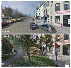 -The makeovers vary in scale. A side street in Antwerp, Belgium, is nearly unrecognizable after an outdoor eating area and greenery are added. Urban Design Concept, Urban Design Plan, Public Space Design, Public Spaces, Urban Ideas, New Urbanism, Urban Intervention, Public Realm, Green Street