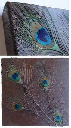 Decoupage peacock feathers on canvas. I can do this instead of buying the 200 dollar painting from work