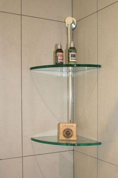 glass corner shelves in shower love