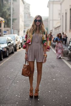 spring is in the air - this floral jacket really brings the look together. LOVE that romper!