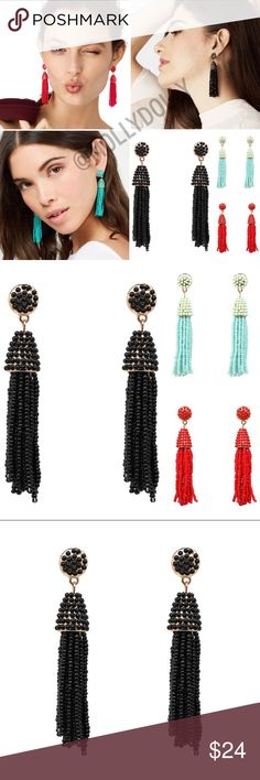 ⭐️ NEW⭐️ Beaded Drop Blogger Statement Earrings Beyond gorgeous stud drop statement earrings. Brand new! Available in red, mint, or black. All jewelry is buy two get one free! MOLLY DOLLY Jewelry Earrings