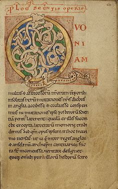 Life and Conversation of Anselm of Canterbury   Inhabited Initial Q  Unknown  Flemish, Belgium, about 1140 - 50  Tempera colors and gold paint on parchment  7 x 4 1/4 in.  MS. LUDWIG XI 6, FOL. 3