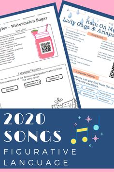 PAPER OR DIGITAL - DISTANCE or CLASSROOM LEARNING  Find, recognize and explain figurative language features/language techniques from 8 different 2020 popular songs that all students know and love.  These are perfect as starters or fast finishers.  They can be printed or assigned via Google Slides on any learning platform.  #figurativelanguage #languagefeatures #songs #2020songs #english #classroom #taskcards # distance learning # digital
