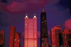Chicago, Sunset on buildings.  Jack Corn Photography