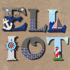 Nautical Wooden Letters Nautical Nursery Decor by KidMuralsbyDanaR