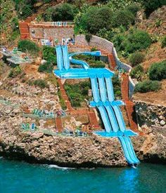 Super slide, into the Mediterranean sea, Sicily, Italy