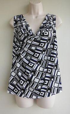 CALVIN KLEIN Top Size Medium Modern Geometric Black White Blue