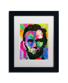 Trademark Global Dean Russo 'Abraham Lincoln I' Matted Framed Art - 16 Pop Art Colors, Dean Russo, Pop Art Portraits, Art Reproductions, Abstract Pattern, Baby Clothes Shops, Abraham Lincoln, Clear Acrylic, 5 D