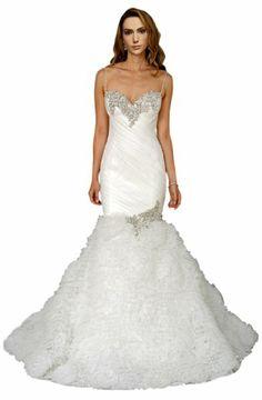 ZHUOLAN White Sweetheart Mermaid Gown in Organza Wedding Dress
