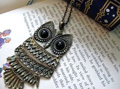 owl necklace retro brass vintage by theWhistlingGypsy on Etsy, $15.50
