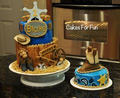 Babies first birthday - western cake accompanied with a smash cake for ...