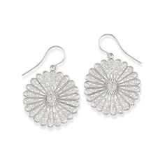 Natures Jewelry Sterling Silver Lacy Flower Earrings ($50) ❤ liked on Polyvore featuring jewelry, earrings, earrings jewelry, sterling silver flower jewelry, lace earrings, sterling silver earrings and lace jewelry